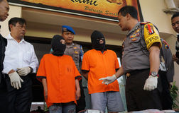 Cyber crime. Police interrogate suspects cyber crime in the city of Solo, Central Java, Indonesia stock image