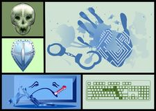 Cyber crime set. With shield, skull and ill computer Stock Images