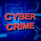 Cyber Crime Sign Shows Theft Spyware And Security Royalty Free Stock Photography