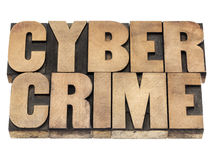 Cyber crime in wood type Royalty Free Stock Photos