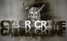 CYBER CRIME with wooden letters an a dark skull s. Olarized monochrome stock images