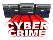 Cyber crime. Words zooming out from servers, concept of  and law stock illustration