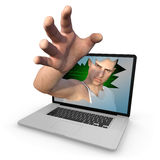 Cyber criminal grabbing whatever he can Stock Photography