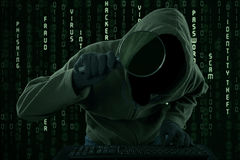 Cyber criminal looking for information Royalty Free Stock Image