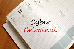 Cyber criminal write on notebook Royalty Free Stock Photos
