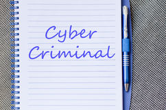 Cyber criminal write on notebook Royalty Free Stock Photo