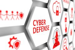 Cyber defense concept. Cell blurred background 3d illustration