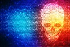 Cyber, der Hintergrund, Schädel mit binär Code im digitalen Hintergrund zerhackt stock abbildung