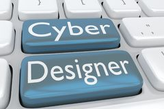 Cyber Designer concept. 3D illustration of computer keyboard with the script Cyber Designer on two adjacent buttons Royalty Free Stock Photo