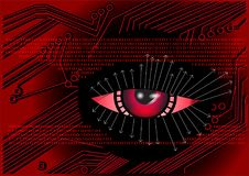 Cyber. digital background. Abstract eye and binary code Stock Images