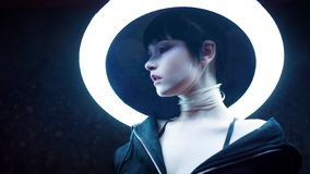 cyber dof skutka dziewczyny płycizna Piękna młoda kobieta, futurystyczny styl zdjęcie royalty free