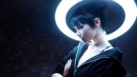 cyber dof skutka dziewczyny płycizna Piękna młoda kobieta, futurystyczny styl fotografia stock