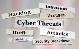 Cyber-Drohungen nimmt das Zerhacken von Zeitungs-Schlagzeilen 3d Illustratio in Angriff Stockfoto