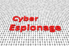 Cyber espionage. In the form of binary code, 3D illustration royalty free illustration