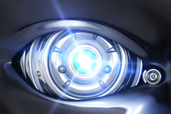 Cyber eye close up. With shining light royalty free illustration