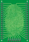 Cyber finger print. Nice cyber finger print on the green background Stock Photography
