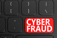 Cyber Fraud on black keyboard. 3D rendering Stock Images