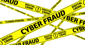 CYBER FRAUD. DIGITAL CRIME. Yellow warning tapes Stock Images