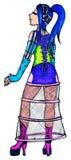 Anime manga bright cyber freak girl cartoon vector Stock Image