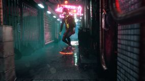Cyber girl hover on a hoverboard over the street of the cyber city of the future. Animation for fiction, cyber and