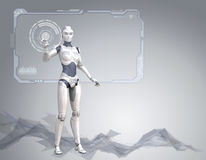 Cyber girl and screen Stock Illustration