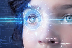 Cyber girl with technolgy eye looking into blue iris. Modern cyber girl with technolgy eye looking into blue iris royalty free illustration