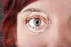 Cyber girl with technolgy eye looking. Modern cyber girl with technolgy eye looking stock photography