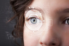 Cyber girl with technolgy eye looking Stock Images