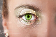 Cyber girl with technolgy eye looking Royalty Free Stock Photo