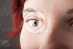 Cyber girl with technolgy eye looking Royalty Free Stock Image
