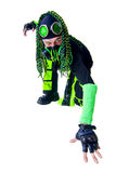 Cyber Goth guy posing like a spiderman Royalty Free Stock Image