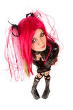 Cyber gothic girl. High angle view royalty free stock image
