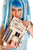 Cyber gothic girl holding mainboard in the hand. Hi key Royalty Free Stock Photography