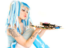Cyber gothic girl holding mainboard in the hand. Hi key Stock Photo
