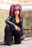 Cyber gothic girl street. Gothic girl posing for photographers to show what she is wearing in the dutch city utrecht, the netherlands, during the gothic summer Stock Image