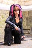 Cyber gothic girl street stock image