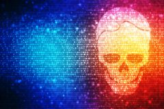 Cyber Hacking Background, Skull with binary code in digital background stock illustration