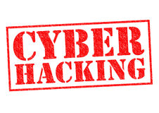CYBER HACKING. Red Rubber Stamp over a white background Royalty Free Stock Photo