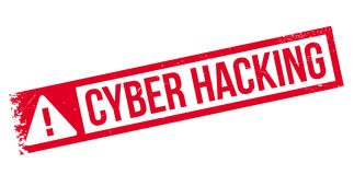 Cyber Hacking rubber stamp Stock Photo