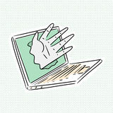 Cyber Hand Breaking Computer Royalty Free Stock Image