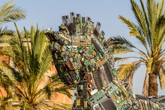 Cyber Horse, Tel Aviv University. TEL AVIV, ISRAEL - DECEMBER 5: Cyber Horse, sculpture of Trojan horse at Tel Aviv University, Israel on December 5, 2016 Royalty Free Stock Images