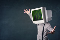 Cyber human with a monitor screen and computer code on the displ. Cyber business human with a monitor screen and computer code on the display Royalty Free Stock Photography