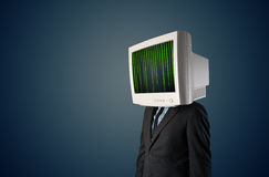 Cyber human with a monitor screen and computer code on the displ. Cyber business human with a monitor screen and computer code on the display Stock Photo