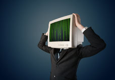 Cyber human with a monitor screen and computer code on the displ Stock Photography