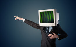Cyber human with a monitor screen and computer code on the displ. Cyber business human with a monitor screen and computer code on the display Royalty Free Stock Photo