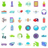 Cyber icons set, cartoon style. Cyber icons set. Cartoon style of 36 cyber vector icons for web isolated on white background Royalty Free Stock Photos
