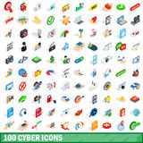 100 cyber icons set, isometric 3d style Royalty Free Stock Photo