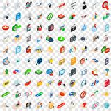 100 cyber icons set, isometric 3d style Stock Photo