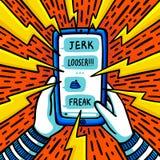Cyber intimidatieconcept Tiener die door verkeerde sms-bericht worden geïntimideerd Vlakke stijl vectorillustratie vector illustratie
