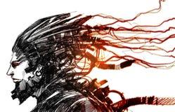 Cyber istota ludzka royalty ilustracja